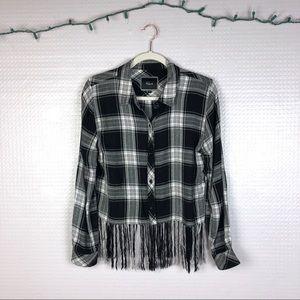 Rails | Exclusive Cropped Fringe Flannel M